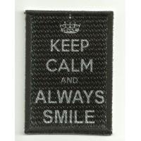 Parche textil y bordado KEEP CALM ALWAYS SMLE 7cm x 5cm