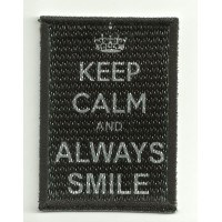 Patch textile and embroidery KEEP CALM ALWAYS SMILE 7cm x 5cm
