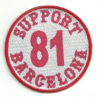 Parche bordado y textil SUPORT 81 BARCELONA BLANCO 7,5cm x 7,5cm