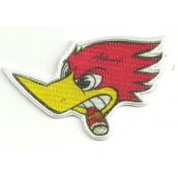 Patch embroidery and textile CABEZA PAJARO LOCO 9cm x 6cm