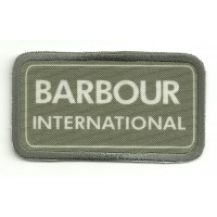 Patch textile and embroidery BARBOUR INTERNACIONAL GREEN 7cm x 4cm