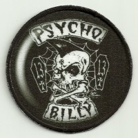Parche bordado y textil PSYCHO BILLY 7,5cm diametro