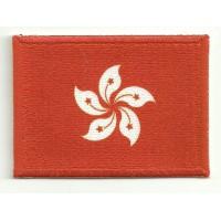 Parche bordado y textil BANDERA HONG KONG 4cm x 3cm
