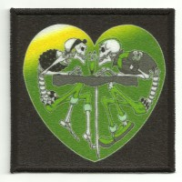 Patch embroidery and textile ROCKABILLY HEART 7,5cm x 7,5cm