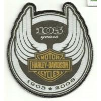 Parche bordado y textil HARLEY DAVIDSON 105 YEARS 9cm x 10cm