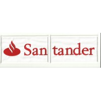 Embroidery and textile patch BANCO SANTANDER WHITE DIVIDED 28cm x 8cm