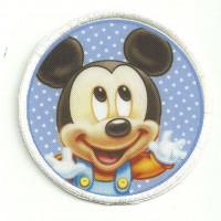 Parche bordado y textil MICKEY 7,5cm diametro