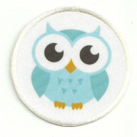 Patch embroidery and textile OWL 7,5cm diametre