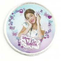 Patch embroidery and textile VIOLETTA 7,5cm diametre