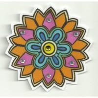 Parche textil FLOR PICOS CON PEDRERIA 7,5cm diametro