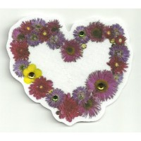 Patch textil HEART OF FLOWERS WITH BRIGHT 9cm x 8cm