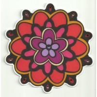 Parche textil FLOR CON PEDRERIA 7,5cm diametro