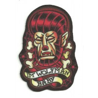 Textile patch I'M WOLFMAN - ROCKABILLY 5.5cm x 8cm