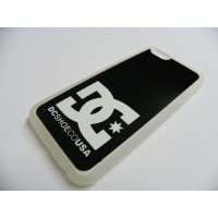 FUNDA CARCASA IPHONE 6 DC SHOES BLANCO TRANSPARENTE CON TRASERA DE ALUMINIO NEGRA