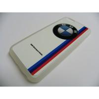 FUNDA CARCASA IPHONE 6 BMW BLANCA TRANSPARENTE CON TRASERA DE ALUMINIO BLANCA