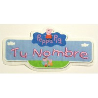 Embroidery and textile patch PEPPA PIG YOUR NAME 9cm X 4,5 cm NAMETAPE