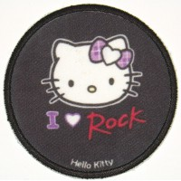 Parche bordado y textil HELLO KITTY ROCK 7,5cm