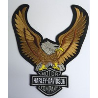 Parche bordado AGUILA GRANDE FRONTAL HARLEY GRIS 22,5cm x 26,5cm