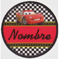 Embroidery and textile patch CARS YOUR NAME 7,5cm