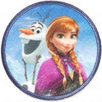 Embroidery and textile patch FROZEN ANA Y OLAF 7,4cm