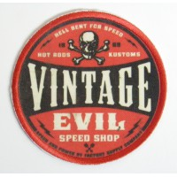 Embroidery and textile patch VINTAGE EVIL 7,4cm