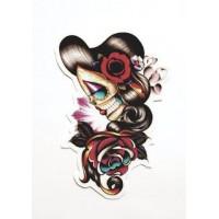 ROCKABILLY SKULL FLOWERS textile patch 6.5 cm x 10cm