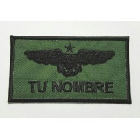 Embroidered patch MILITARY INSIGNIA GREEN YOUR NAME 9cm x 5cm NAMETAPES