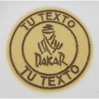 Parche bordado DAKAR REDONDO BEIGE TU TEXTO 7,5cm