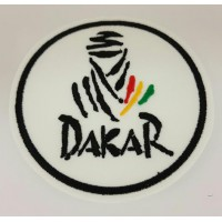 Patch embroidery DAKAR 7.5cm WHITE ROUND