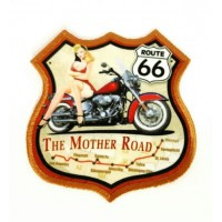 Embroidery and textile patch GIRL ROUTE 66 8cm x 8.5cm