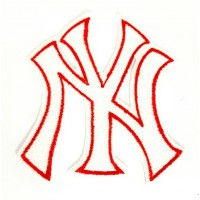 Embroidered patch WHITE -RED NEW YORK-NY 7.5cm x 8.5cm