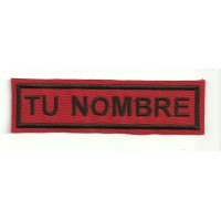 Embroidery Patch RED / BLACK YOUR NAME 10 cm x 2.4 cm NAMETAPE