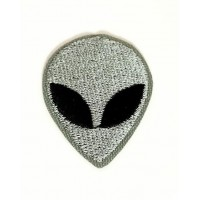 Embroidery patch GREY ALIEN 12cm x 16cm
