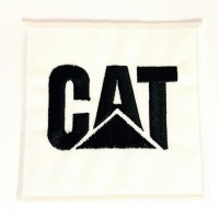 Embroidered patch WHITE CATEPILLAR CAT 7.5cm x 7.5cm