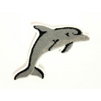 Embroidered patch GRAY DOLPHIN 7cm x 4.5cm