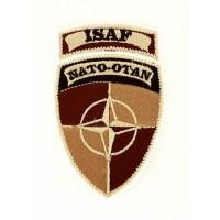 Parche bordado ISAF NATO OTAN MARRON 5cm x 8,5cm