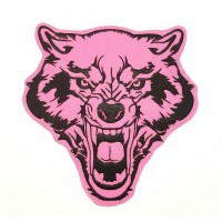 PINK WOLF embroidered patch 28cm x 29cm
