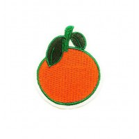 ORANGE embroidered patch 4cm x 5.5 cm
