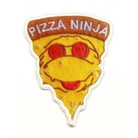 patch and embroidered textiles PIZZA NINJA 6.5cm x 8cm 6.5cm