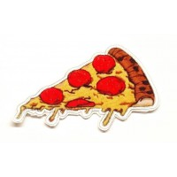 textiles and embroidered patch PORTION PIZZA 8cm x 4.5cm