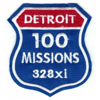 embroidery patch DETROIT 100 MISSIONS 328xi 7cm x 7,5cm