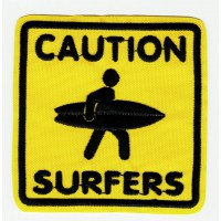 CAUTION SURFERS embroidered patch SURF 15cm x 15cm