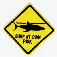 Parche bordado SURF AT OWN RISK 15cm x 15cm