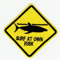 SURF AT OWN RISK embroidered patch 8cm x 8cm