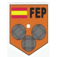 Embroidery and textile patch FEDERACIÓN ESPAÑOLA DE PETANCA 6,5cm X 8,5cm