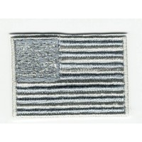 AMERICAN FLAG GRAY embroidered patch 4cm x 3cm