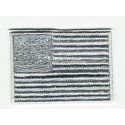 AMERICAN FLAG GRAY embroidered patch USA 4cm x 3cm