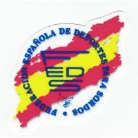 Embroidery and textile patch FEDERACIÓN ESPAÑOLA DE DEPORTES PARA SORDOS 8cm x 8cm