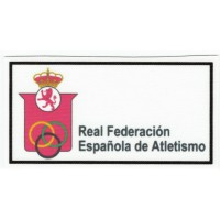 Embroidery and textile patch REAL FEDERACIÓN ESPAÑOLA DE ATLETISMO 8,5cm x 4,5cm