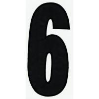 Parche bordado NUMERO 6 NEGRO 24cm X 10,5cm